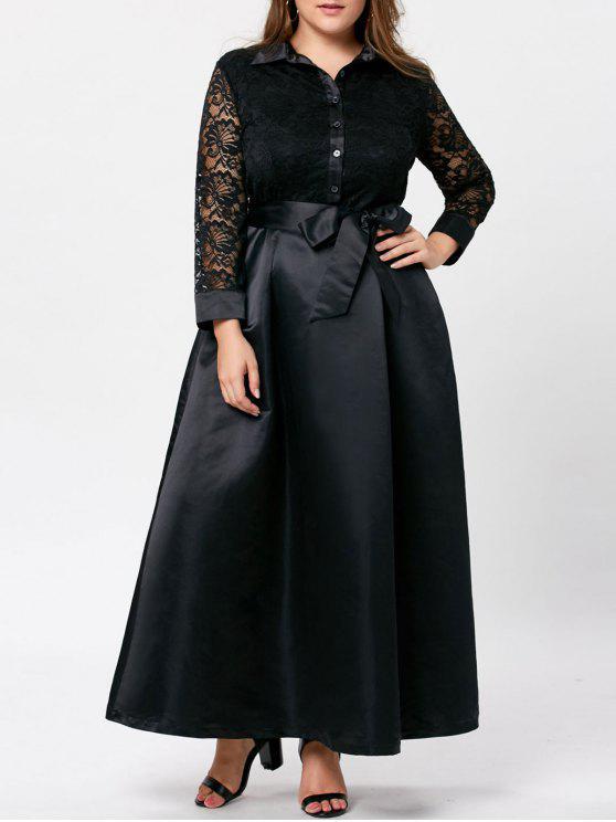 a38d0c7d4916a2 36% OFF] 2019 Plus Size Lace Trim Swing Maxi Dress In BLACK   ZAFUL