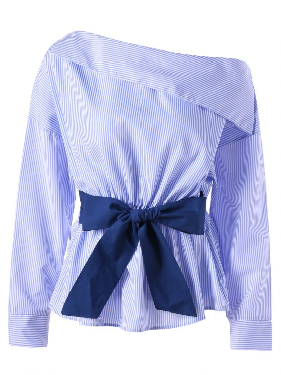 Skew Collar Bowknot Embellished Striped Blouse - Listra Azul XL
