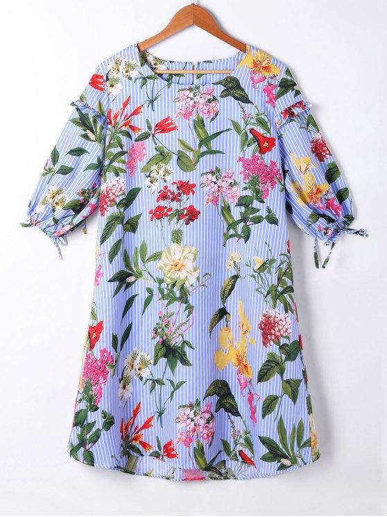 Rayado floral linterna manga cambio vestido - Azul Claro 2XL