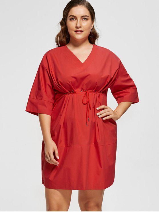 27% OFF] 2019 Plus Size Empire Waist Baggy Dress In RED | ZAFUL