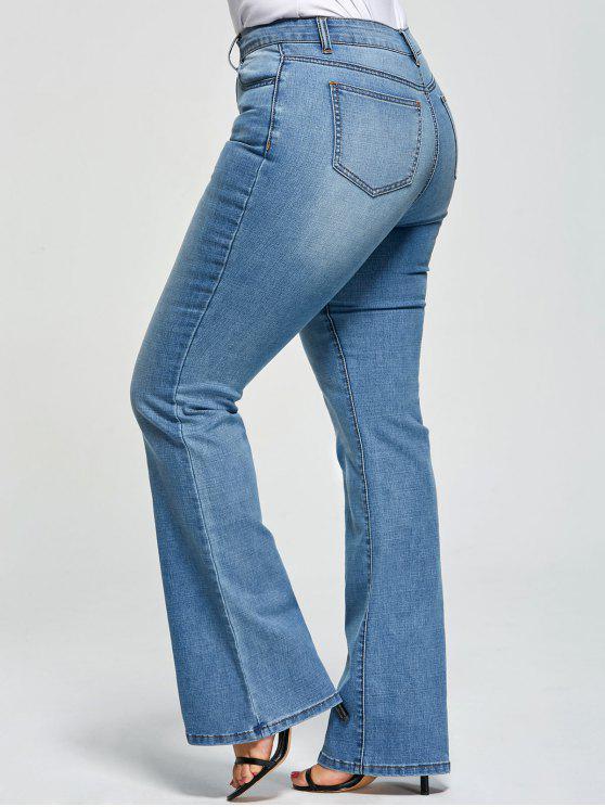 Tallas grandes con cinco bolsillos Flare Jeans - Denim Blue 5XL