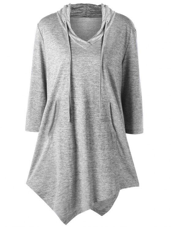 Plus Size Asymmetric Kangaroo Pocket Drawstring T-Shirt - Hellgrau 2XL