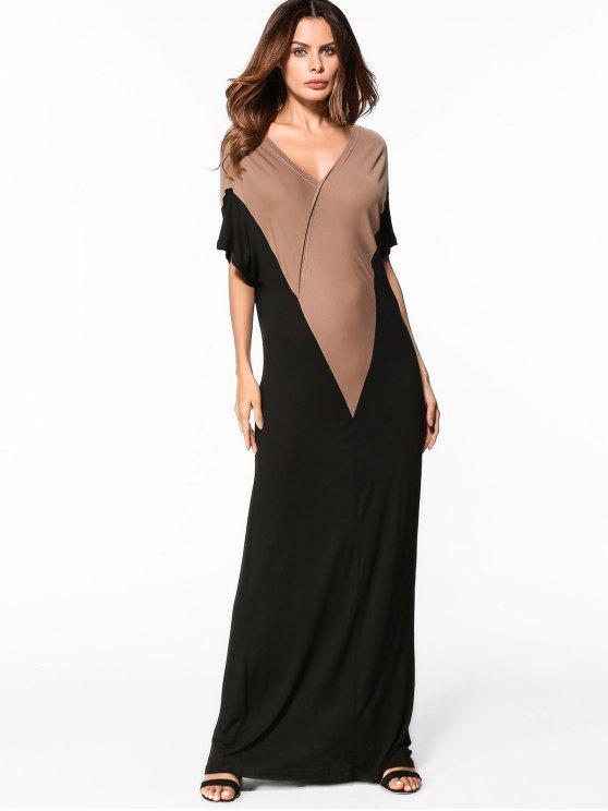 فستان ماكسي جيرسي - أسود M
