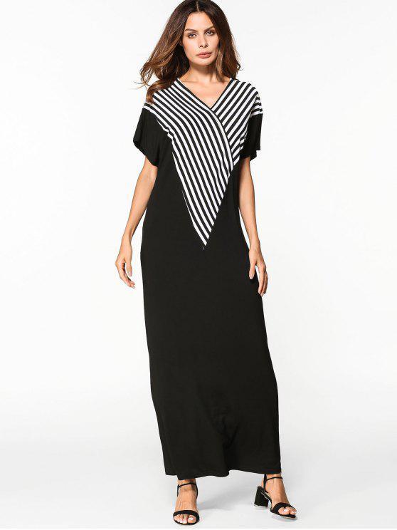 ladies V Neck Striped Shift Maxi Dress - BLACK S