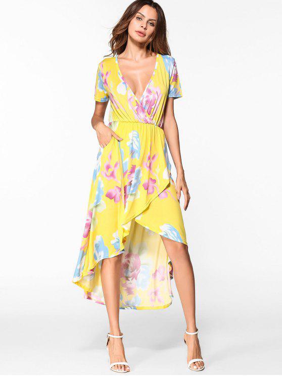 lady Floral Low Cut High Low Hem Dress - YELLOW M
