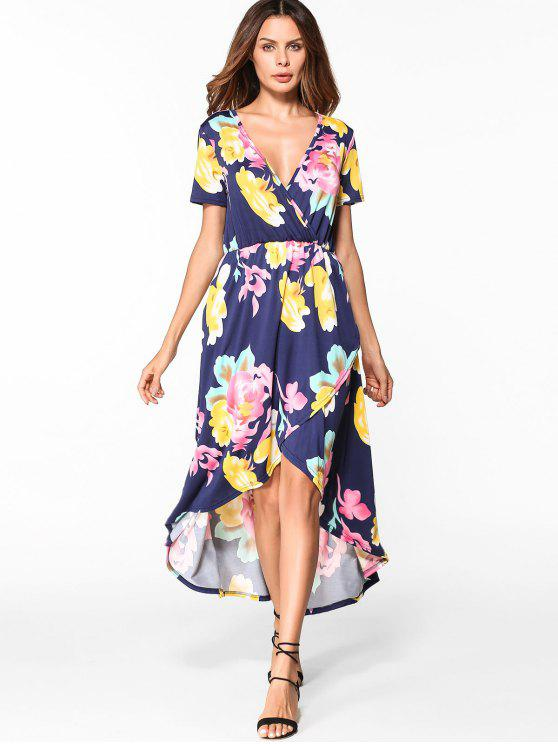 latest Floral Low Cut High Low Hem Dress - PURPLISH BLUE L
