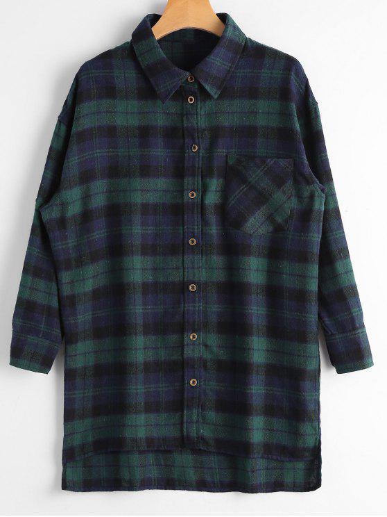 hot Plaid Button Down Flannel Shirt - DEEP GREEN XS