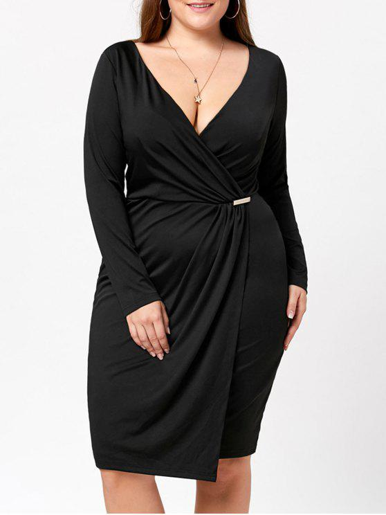 buy Plus Size Long Sleeve Plunging Dress - BLACK 5XL