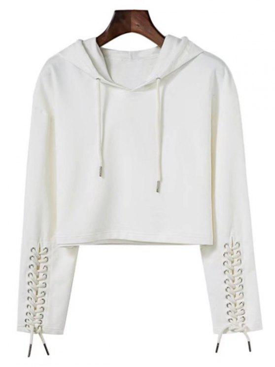 fashion Cropped Lace Up Sleeve Sporty Hoodie - WHITE S