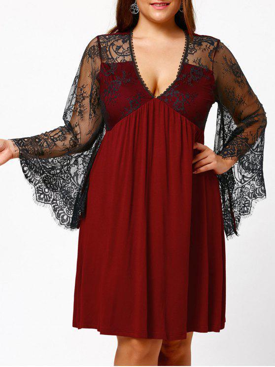Empire Waist Plus Size Tunic Dress BLACK BURGUNDY