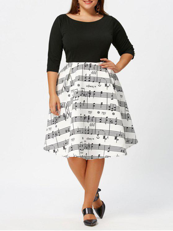 Plus Size Musical Notes Print Vintage Dress WHITE AND BLACK
