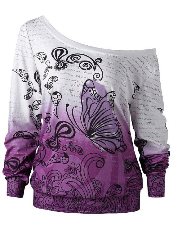 trendy Plus Size Butterfly Print Ombre Sweatshirt - WHITE + PURPLE 4XL