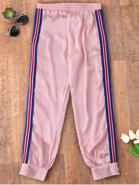Sporty Striped Jogger Pants - ROSE PÂLE S