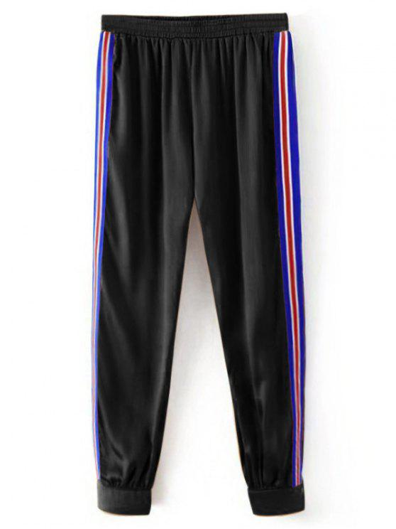 Sporty Striped Jogger Pants - Noir L