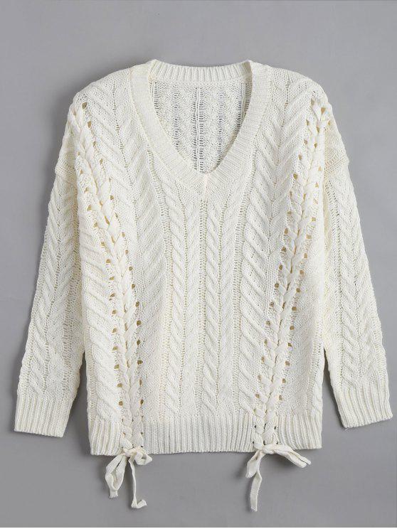 Lace Up Chunky Strick Tunika Pullover - Weiß Eine Größe
