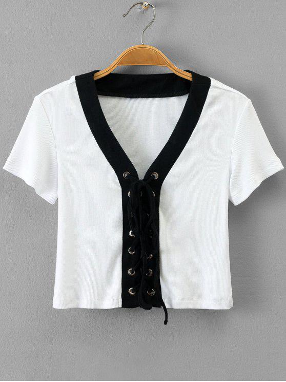 Top à dos en laine côtelé avec nervures - Blanc TAILLE MOYENNE