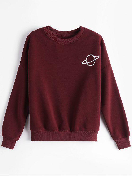 online Planet Drop Shoulder Sweatshirt - DEEP RED ONE SIZE