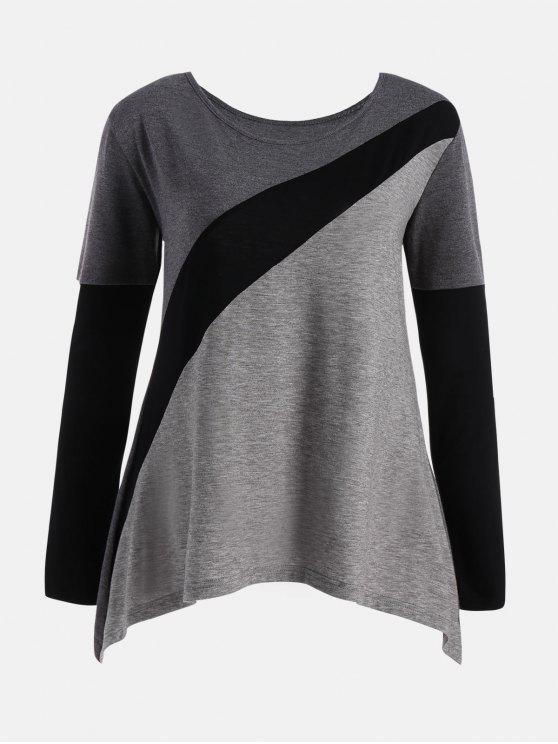 ca2c5ecf32393 2018 Color Block Long Sleeve Plus Size T-shirt In COLORMIX XL
