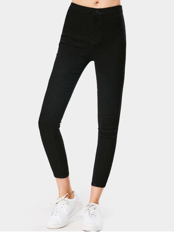 Calças jeans esticadas nobres de cintura alta - Preto XL