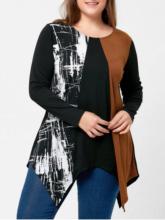 trendy Plus Size Long Sleeve Handkerchief T-shirt - BLACK 5XL