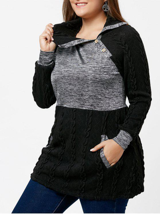 sale Plus Size Cable Knit Sweater with Pockets - BLACK XL