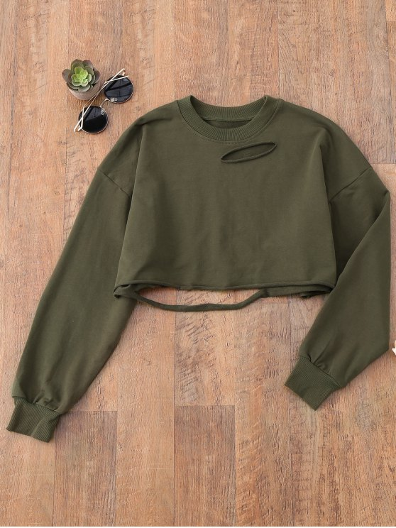 fancy Cropped Ripped Sweatshirt - ARMY GREEN ONE SIZE