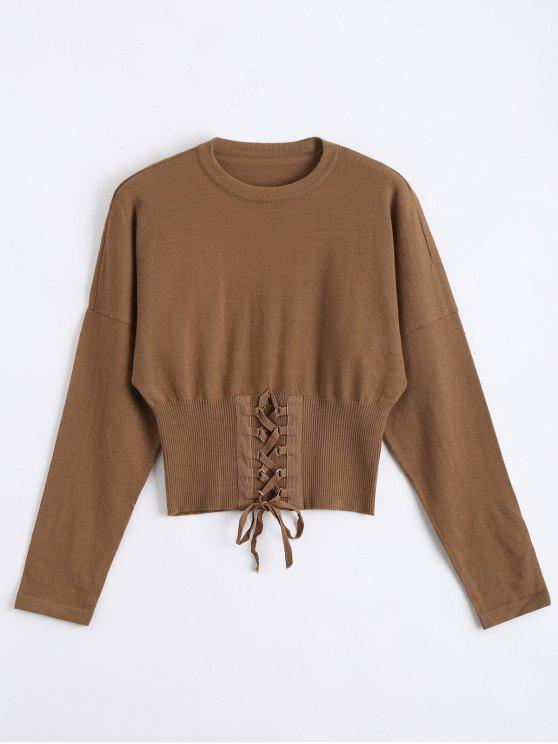 trendy Crop Knitted Lace Up Sweater - COFFEE ONE SIZE