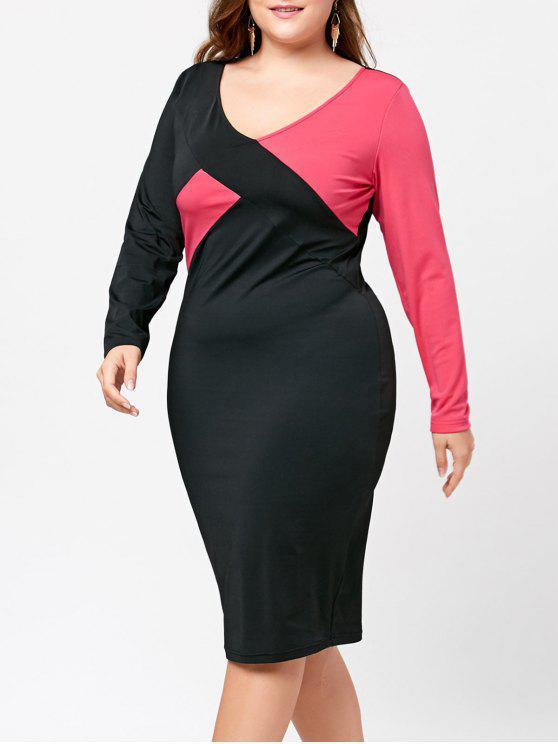 V فستان الحجم الكبير كتلة اللون ضيق الرقبة - أسود + روز 5XL
