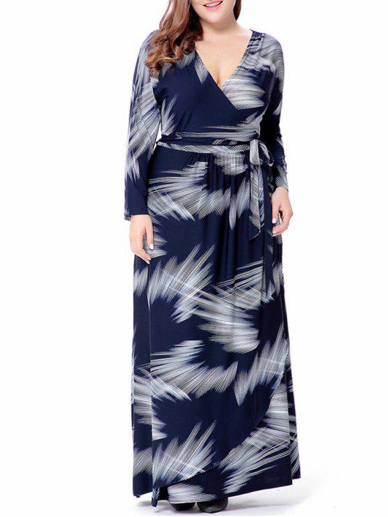 V فستان الحجم الكبير ماكسي طباعة لف الرقبة - الأرجواني الأزرق 5XL