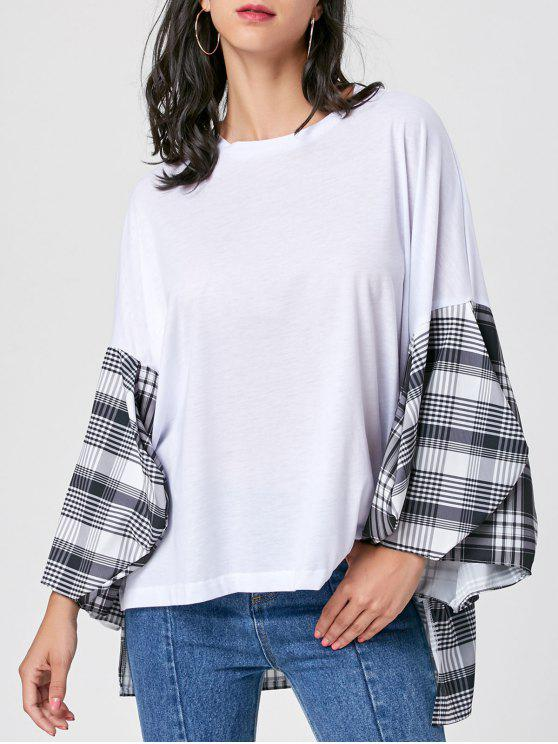 a3e88b852417d2 33% OFF] 2019 Plaid Insert High Low Drop Shoulder Blouse In WHITE S ...