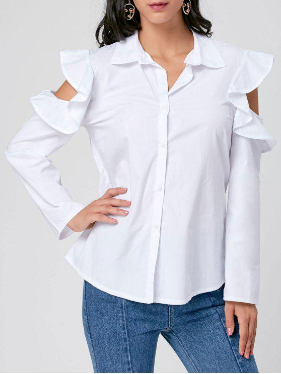 2ee3d8d9a55 28% OFF  2019 Ruffle Cold Shoulder Button Up Shirt In WHITE