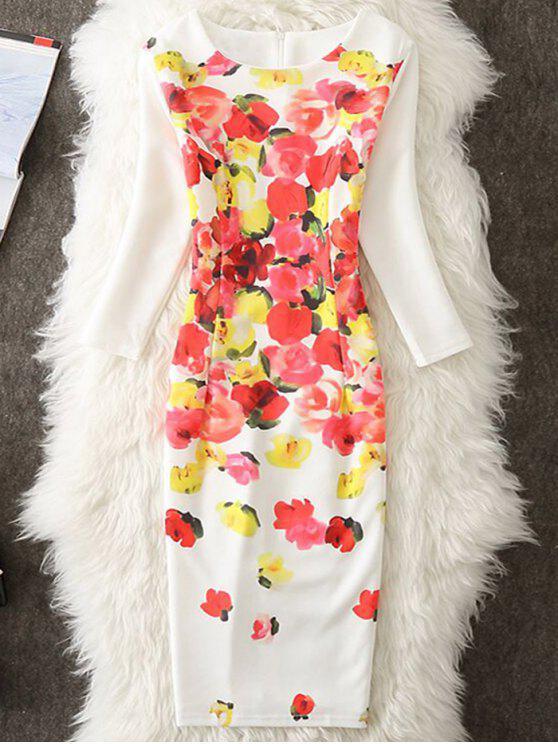 الزهور طول الركبة اللباس بوديكون - أبيض 2XL
