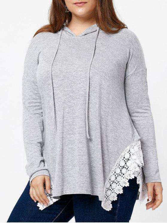 Asymmetrisches Übergröße T-Shirt mit Kapuze , Schlitz und Spitzendetail - Grau XL