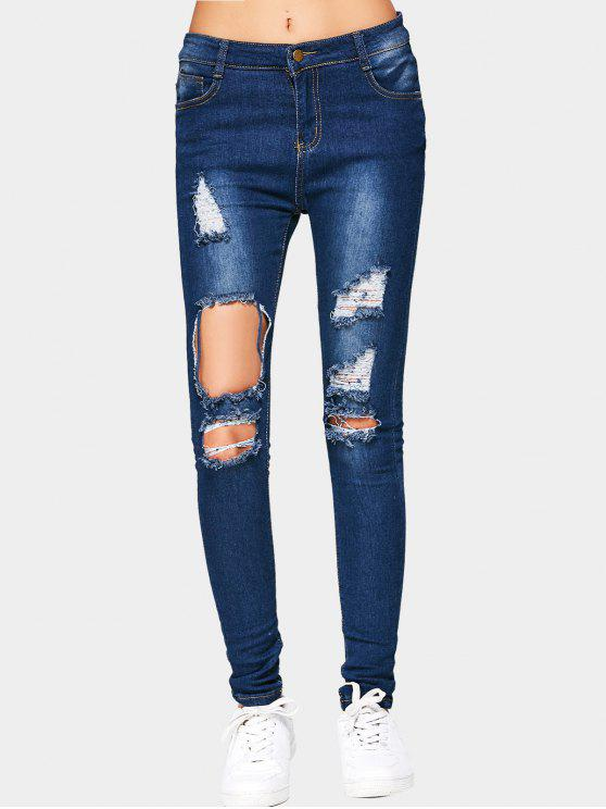 ladies Cut Out Ripped Jeans - DEEP BLUE M