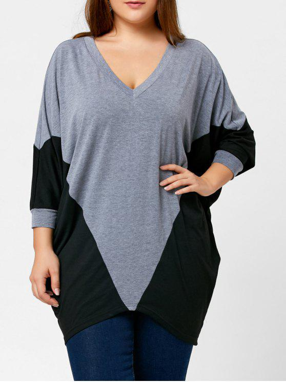 2018 Color Block Plus Size Dolman Sleeve Top In Black And Grey 4xl
