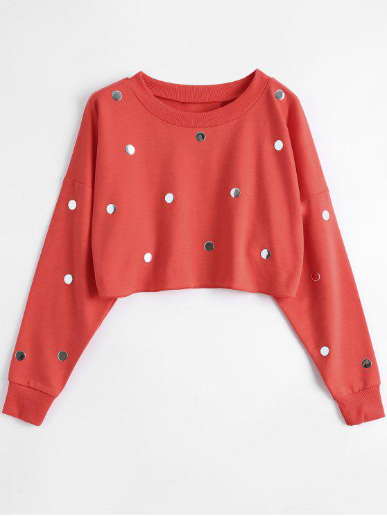 chic Metallic Dots Raw Hem Cropped Sweatshirt - RED S
