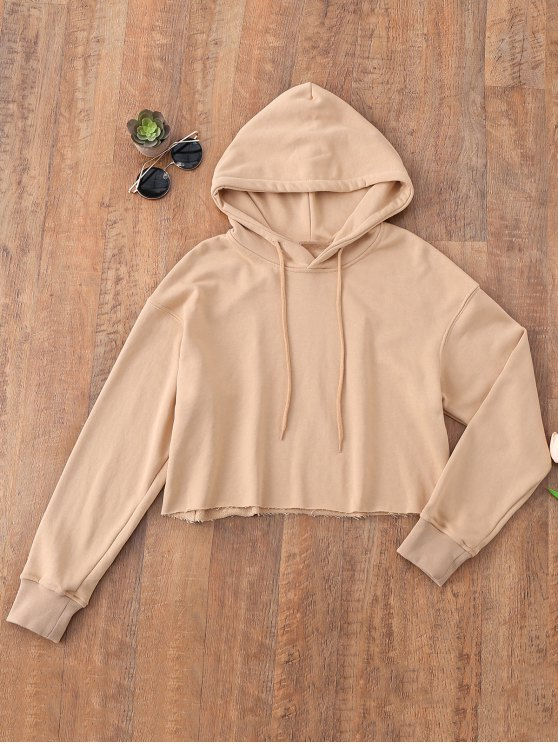 lady Pullover Cropped Sporty Hoodie - KHAKI M