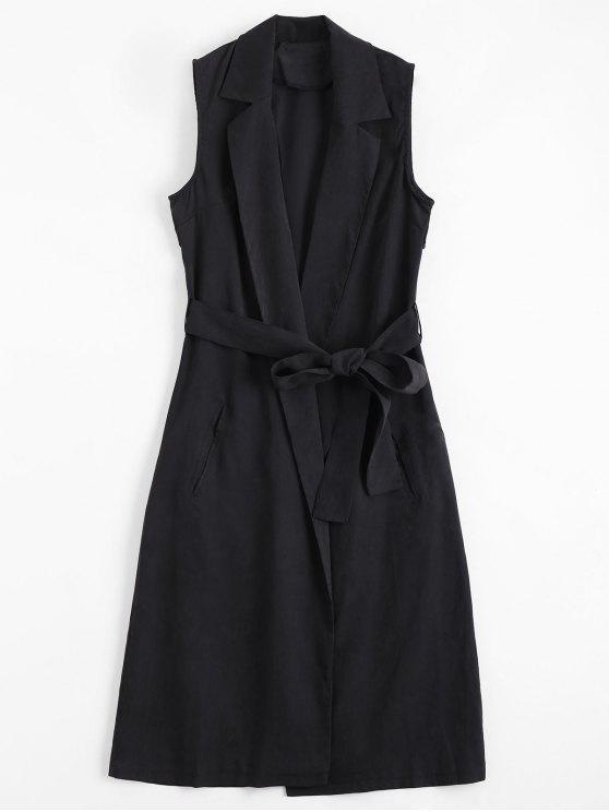 women Invisible Pockets Lapel Belted Longline Waistcoat - DEEP GRAY XL