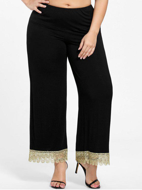 e60dff46c89cd 27% OFF  2019 Plus Size Floral Lace Trim Wide Leg Pants In BLACK