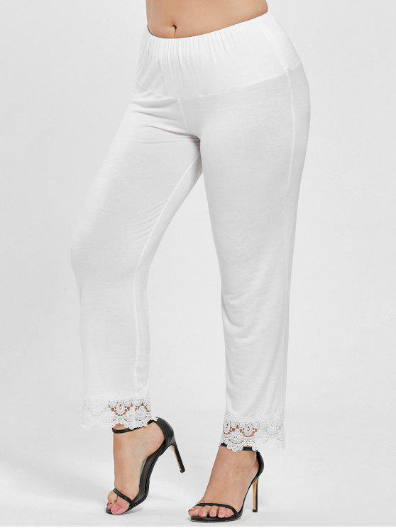 a4aef02aff884 45% OFF  2019 Plus Size High Waist Lace Trim Pants In WHITE 4XL