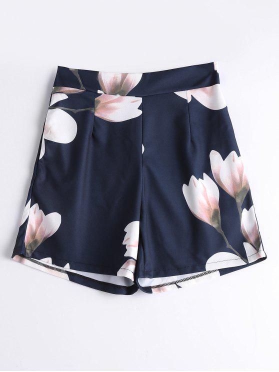 women's High Waist Floral Summer Shorts - FLORAL M