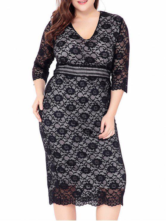 فستان ميدي من قماش الدانتيل - أسود 2XL