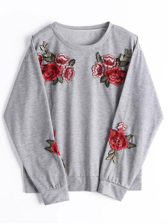 fancy Loose Floral Embroidered Patched Sweatshirt - GRAY S