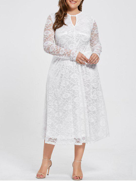 Keyhole Plus Size Long Sleeve Lace Dress WHITE