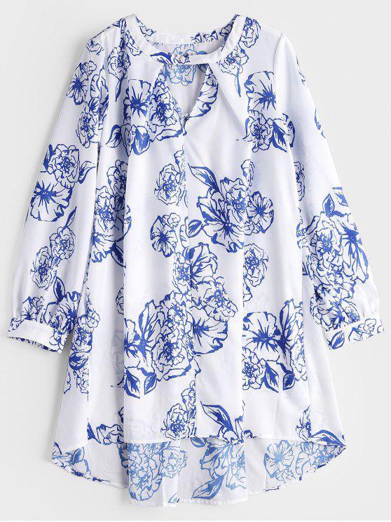 Vestito basso basso dalla stampa floreale del collo della serratura delle code - Bianco L