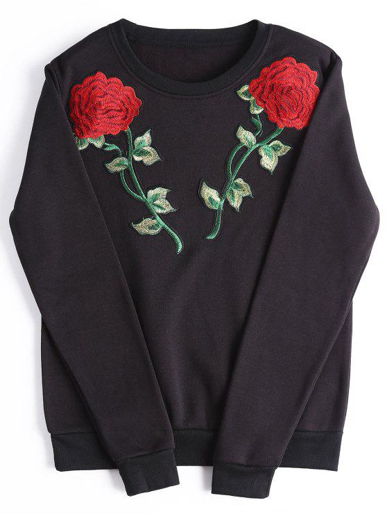 hot Casual Rose Embroidered Patches Sweatshirt - BLACK L