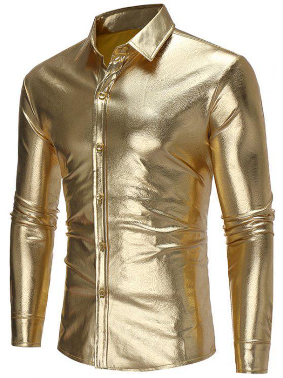شيرت طويلة الأكمام بلون معدني - ذهبي XL