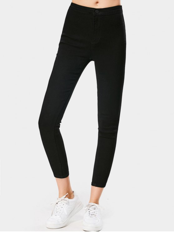 ladies High Waisted Ninth Skinny Stretchy Jeans - BLACK L