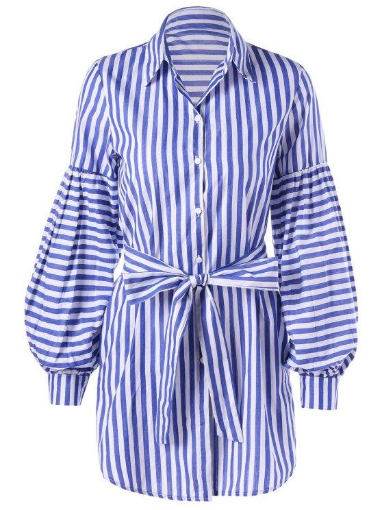 Laço de listrada Cinto Lantern Sleeve Shirt Dress - Listra Azul XL