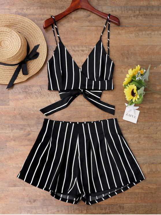 fashion Striped Cami Wrap Top and Shorts - BLACK L
